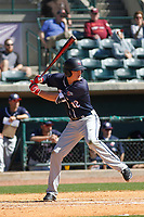 Liberty University Flames infielder Andrew Kowalo (12) at bat during a game against the University of Virginia Cavaliers  at Joseph P. Riley Ballpark on February 17, 2017 in Charleston, South Carolina. Virginia defeated Liberty 10-2. (Robert Gurganus/Four Seam Images)