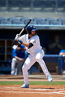 Charlotte Stone Crabs Zach Rutherford (15) during a Florida State League game against the Dunedin Blue Jays on April 17, 2019 at Charlotte Sports Park in Port Charlotte, Florida.  Charlotte defeated Dunedin 4-3.  (Mike Janes/Four Seam Images)