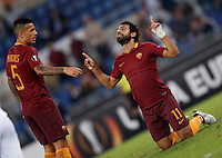Roma's Mohamed Salah, right, celebrates with his teammate Leandro Paredes after scoring during the Europa League Group E soccer match between Roma and Astra Giurgiu at Rome's Olympic stadium, 29 September 2016. Roma won 4-0.<br /> UPDATE IMAGES PRESS/Isabella Bonotto