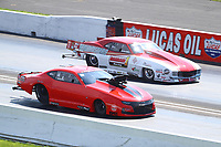Aug 8, 2020; Clermont, Indiana, USA; NHRA pro mod driver Jason Scruggs (near) alongside Khalid Albalooshi during qualifying for the Indy Nationals at Lucas Oil Raceway. Mandatory Credit: Mark J. Rebilas-USA TODAY Sports