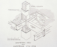 "William Le Baron Jenny :"" Fair"" Building, a department store in downtown Chicago, 1890.  Drawing of  isometric view of an interior column."
