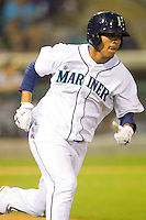 Jose Rivero #58 of the Pulaski Mariners hustles down the first base line against the Greeneville Astros at Calfee Park August 29, 2010, in Pulaski, Virginia.  Photo by Brian Westerholt / Four Seam Images