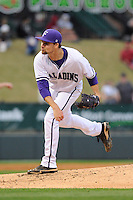 Pitcher Jake Wolff (8) of the Furman Paladins in a game against the South Carolina Gamecocks on Wednesday, April 3, 2013, at Fluor Field at the West End in Greenville, South Carolina. (Tom Priddy/Four Seam Images)