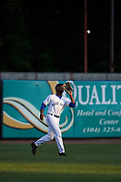 Bluefield Blue Jays left fielder D.J. Daniels (6) settles under a fly ball during the second game of a doubleheader against the Bristol Pirates on July 25, 2018 at Bowen Field in Bluefield, Virginia.  Bristol defeated Bluefield 5-2.  (Mike Janes/Four Seam Images)