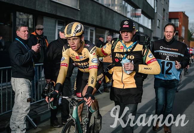 Wout Van Aert (BEL/Jumbo-Visma) post-finish<br /> <br /> 75th Omloop Het Nieuwsblad 2020 (BEL)<br /> Men Elite Race<br /> Gent – Ninove: 200km<br /> <br /> ©kramon