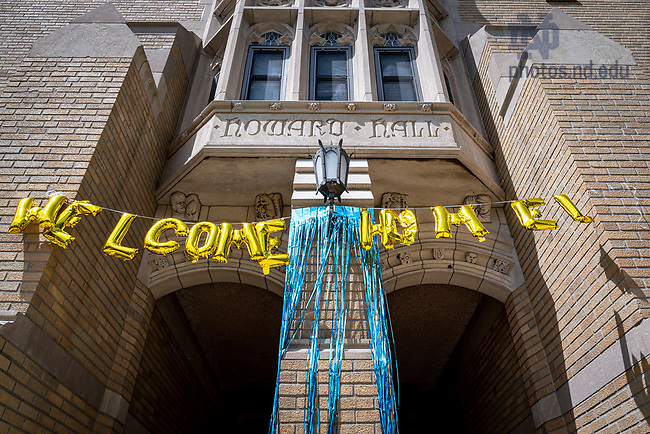 """August 3, 2020; """"Welcome Home"""" sign on Howard Hall during move-in week 2020 (Photo by Matt Cashore/University of Notre Dame)"""