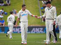 NZ bowlers Tim Southee and Kyle Jamieson (right) during day three of the second International Test Cricket match between the New Zealand Black Caps and West Indies at the Basin Reserve in Wellington, New Zealand on Sunday, 13 December 2020. Photo: Dave Lintott / lintottphoto.co.nz