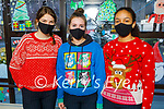 Shauna O'Brien, Ciara Bowler and Jessica Agbaih, Presentation Secondary School Tralee students celebrating Christmas Jumper Day on Friday..