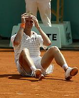 20030606, Paris, Tennis, Roland Garros, Martin Verkerk plaats zich vooe de finale