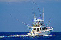 Sport fishing boat with Hawaiian Green Stick tuna rig, Kona Coast, Big Island