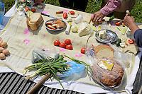 ROMANIA Transylvania, farmer at lunch  / RUMAENIEN Transsilvanien Siebenbuergen, Dorf Sura Mica, dt. Kleinscheuern, landwirtschaftlicher Betrieb des Buergermeister und Landwirt Cornel Joarza, Mittagspause