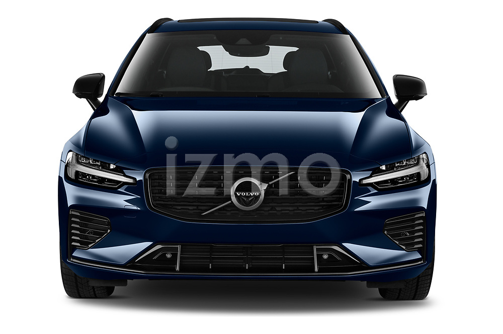Car photography straight front view of a 2021 Volvo V60 R-Design 5 Door Wagon Front View