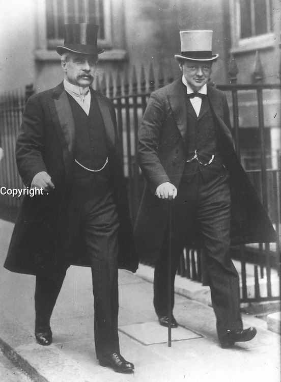 Canadian Prime Minister Robert Borden (1854-1937) and Winston Churchill (then First Lord of the Admiralty) in 1912. Location unknown.<br /> <br /> PHOTO : Agence ROL