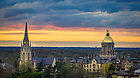 April 9, 2021; Campus skyline at sunset (Photo by Matt Cashore/University of Notre Dame)