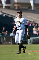 Surprise Saguaros relief pitcher Geoff Hartlieb (70), of the Pittsburgh Pirates organization, walks off the field between innings of an Arizona Fall League game against the Peoria Javelinas at Surprise Stadium on October 17, 2018 in Surprise, Arizona. (Zachary Lucy/Four Seam Images)