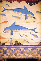 Arthur Evans reconstruction of  the Dolphin Frescos, Knossos Minoan archaeological site, Crete