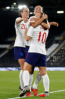 Fran Kirby of England Women is mobbed after scoring during the Women's international friendly match between England Women and Australia at Craven Cottage, London, England on 9 October 2018. Photo by Carlton Myrie / PRiME Media Images.