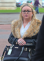 COPY BY TOM BEDFORD<br /> Pictured: Melissa Pesticcio arrives at Cardiff Crown Court. Friday 10 February 2017<br /> Re: Melissa Pesticcio, 23, Lewis Hall, 18 and Michael Wheeler, 22 have appeared at Cardiff Crown court in connection with the death of a 22-year-old woman following a collision in Cardiff.<br /> Sophie Taylor, 22, from Llandaff , died following a collision in the early hours of Monday, August 22 2016, in which her black BMW 1 Series collided with a block of flats at the junction of Meteor Street and Moira Street in the Adamsdown area of Cardiff, Wales.<br /> Pesticcio, from Llanrumney , is charged with causing death by dangerous driving, causing serious injury by dangerous driving, and dangerous driving.