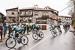 The peloton pass through La Alberca during Stage 17 of the Vuelta Espana 2020, running 178.2km from Sequeros to Alto de la Covatilla, Spain. 7th November 2020.  <br /> Picture: Unipublic/Charly Lopez | Cyclefile<br /> <br /> All photos usage must carry mandatory copyright credit (© Cyclefile | Unipublic/Charly Lopez)