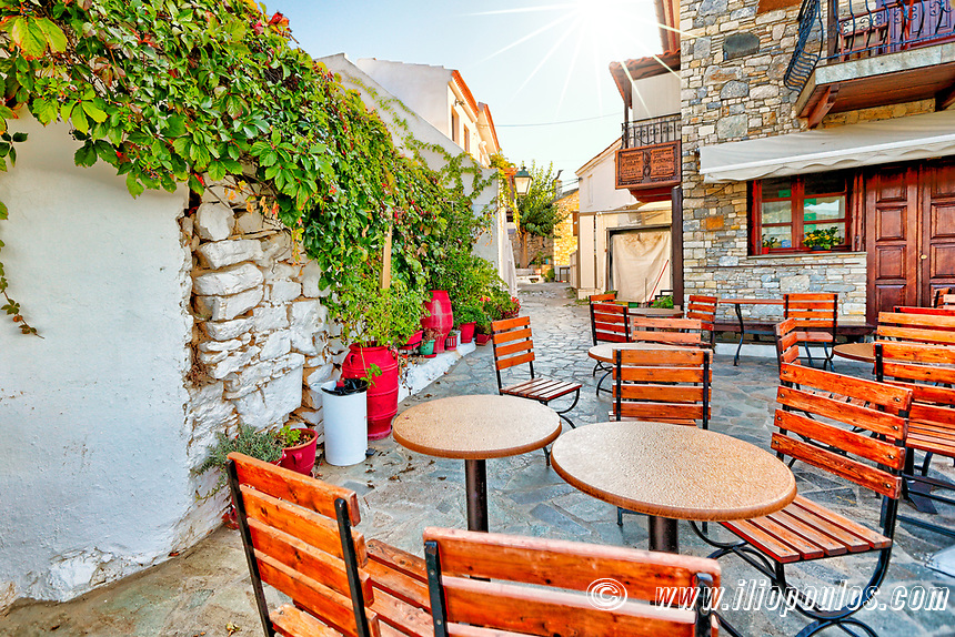 Traditional restaurant in the old Chora of Alonissos island, Greece