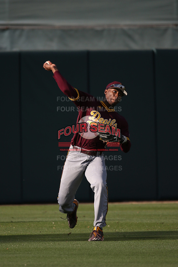Tyler Williams (25) of the Arizona Sun Devils throws from the outfield before a game against the Southern California Trojans at Dedeaux Field on March 24, 2017 in Los Angeles, California. Southern California defeated Arizona State, 5-4. (Larry Goren/Four Seam Images)