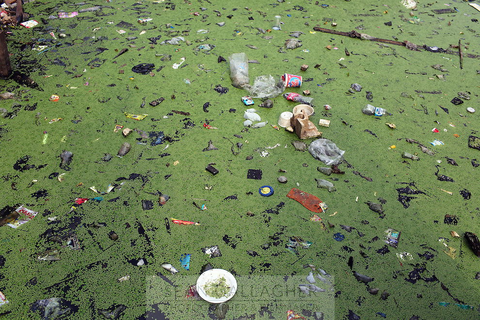 Water pollution in central Jakarta, Indonesia.