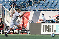 FOXBOROUGH, MA - JULY 25: USL League One (United Soccer League) match. Ethan Vanacore-Decker #7 of Union Omaha brings the ball forward during a game between Union Omaha and New England Revolution II at Gillette Stadium on July 25, 2020 in Foxborough, Massachusetts.