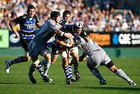 Photo: Richard Lane/Richard Lane Photography. Bath Rugby v Leicester Tigers. Aviva Premiership. 01/10/2011. Bath's Dave Attwood attacks.