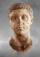 Roman sculpture of the Emperor Caracalla, excavated from Thuburbo-Majus, sculpted circa 211-217AD. The Bardo National Museum, Tunis, Inv No: C. 1347. Against a grey art background.