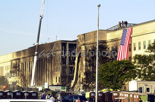 11 September 2017 - America remembers the fateful day of 9/11/2001 on the commemoration on the 16th anniversary of the terrorist attacks that killed nearly 3,000 people when hijackers flew commercial airplanes into New York's World Trade Center, the Pentagon and a field near Shanksville, Pennsylvania File Photo: Sep 12, 2001; Washington, DC, USA; The Pentagon crash site after about 126 people died after an attack on America by terrorists. Photo Credit: Laura Farr/AdMedia Photo