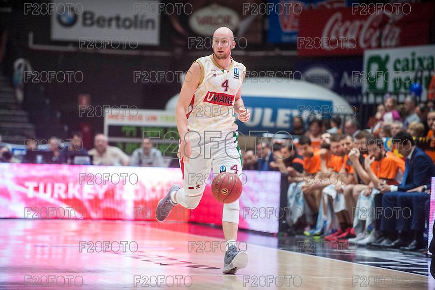VALENCIA, SPAIN - NOVEMBER 3: Hrvoje Peric during EUROCUP match between Valencia Basket Club and CAI Zaragozaat Fonteta Stadium on November 3, 2015 in Valencia, Spain