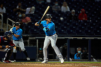 Miami Marlins Brian Anderson (15) bats during a Major League Spring Training game against the Washington Nationals on March 20, 2021 at FITTEAM Ballpark of the Palm Beaches in Palm Beach, Florida.  (Mike Janes/Four Seam Images)