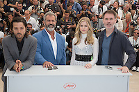 DIEGO LUNA, MEL GIBSON, ERIN MORIARTY, JEAN-FRANCOIS RICHET - CANNES 2016 - PHOTOCALL DU FILM 'BLOOD FATHER'