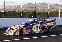 Nov 9, 2013; Pomona, CA, USA; NHRA funny car driver Ron Capps during qualifying for the Auto Club Finals at Auto Club Raceway at Pomona. Mandatory Credit: Mark J. Rebilas-