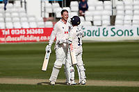Tom Westley of Essex celebrates reaching a double hundred, 200 runs with Adam Wheater during Essex CCC vs Worcestershire CCC, LV Insurance County Championship Group 1 Cricket at The Cloudfm County Ground on 9th April 2021