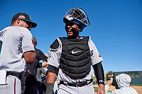 Salt River Rafters catcher Ronaldo Hernandez (24), of the Tampa Bay Rays organization, celebrates after winning the Arizona Fall League Championship Game against the Surprise Saguaros on October 26, 2019 at Salt River Fields at Talking Stick in Scottsdale, Arizona. The Rafters defeated the Saguaros 5-1. (Zachary Lucy/Four Seam Images)