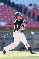 Tyler Marlette #30 of the High Desert Mavericks bats against the Rancho Cucamonga Quakes at Stater Bros. Stadium on May 27, 2014 in Adelanto, California. High Desert defeated Rancho Cucamonga, 5-4. (Larry Goren/Four Seam Images)