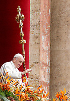 "Pope Francis delivers the Easter ""Urbi et Orbi"" (""To the City and to the World"") message from the central balcony to St. Peter's Basilica at the Vatican, April 21, 2019.<br /> UPDATE IMAGES PRESS/Riccardo De Luca<br /> <br /> STRICTLY ONLY FOR EDITORIAL USE"