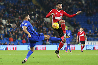 Liam Feeney of Cardiff City challenges Grant Ward of Ipswich during the Sky Bet Championship match between Cardiff City and Ipswich Town at The Cardiff City Stadium, Cardiff, Wales, UK. Tuesday 31 October 2017