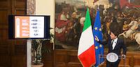 Il Presidente del Consiglio Matteo Renzi tiene una conferenza stampa in occasione dei 1000 giorni del suo governo, a Palazzo Chigi, Roma, 18 novembre 2016.<br /> Italian Premier Matteo Renzi attends a press conference to mark the 1000 days of his government at Chigi Palace in Rome,<br /> UPDATE IMAGES PRESS/Riccardo De Luca