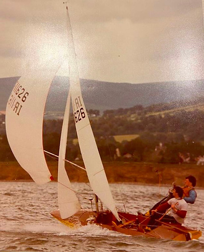 Jimmy Fitzpatrick at the helm of his Fireball on Dublin Bay in the 1980s