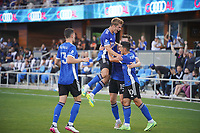SAN JOSE, CA - JULY 24: Tanner Beason #15 of the San Jose Earthquakes celebrates a goal with teammates during a game between Houston Dynamo and San Jose Earthquakes at PayPal Park on July 24, 2021 in San Jose, California.