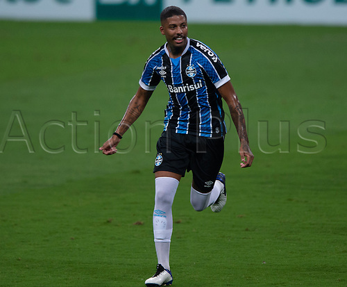14th November 2020; Arena de Gremio, Porto Alegre, Brazil; Brazilian Serie A football league, Gremio versus Ceara; Jean Pyerre of Gremio celebrates his goal in the 20th minute 1-0
