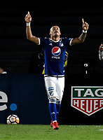 BOGOTA - COLOMBIA – 17 - 04 - 2018: Ayron del Valle jugador de Millonarios (COL), celebra el cuarto gol de su equipo a Deportivo Lara (VEN), durante partido entre Millonarios (COL) y Deportivo Lara (VEN), de la fase de grupos, grupo G, fecha 3 de la Copa Conmebol Libertadores 2018, en el estadio Nemesio Camacho El Campin, de la ciudad de Bogota. / Ayron del Valle player of Millonarios (COL), celebrates the fourth goal of his team to Deportivo Lara (VEN), during a match between Millonarios (COL) and Deportivo Lara (VEN), of the group stage, group G, 3rd date for the Conmebol Copa Libertadores 2018 in the Nemesio Camacho El Campin stadium in Bogota city. VizzorImage / Luis Ramirez / Staff.