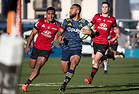 Jona Nareki runs for the tryline during the 2020 Super Rugby match between the Crusaders and Highlanders at Orangetheory Stadium in Christchurch, New Zealand on Saturday, 9 August 2020. Photo: Joe Johnson / lintottphoto.co.nz