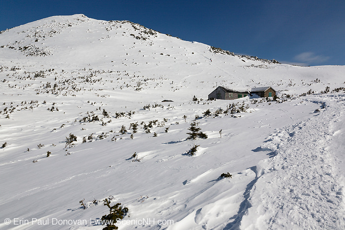 Madison Spring Hut from Valley Way in the New Hampshire White Mountains during the winter months. Originally built in 1888 , this is how the hut looked in 2010 before it was renovated in the fall and spring months of 2010-2011.