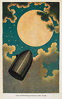 """'The projectile passing the Moon'. A spaceship. Science fiction. Colour illustration.<br /> Ward, Lock & Tyler: London, 1877.<br /> <br /> From: Jules Verne, De la Terre a` la Lune, trajet direct en 97 heures. The Moon-Voyage. Containing """"From the Earth to the Moon"""" and """"Round the Moon."""".<br /> 12511. eee. 36. (2), plate 1<br /> London, British Library."""