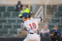 Mitch Roman (10) of the Kannapolis Intimidators at bat against the Hickory Crawdads in game two of a double-header at Kannapolis Intimidators Stadium on May 19, 2017 in Kannapolis, North Carolina.  The Intimidators defeated the Crawdads 9-1.  (Brian Westerholt/Four Seam Images)