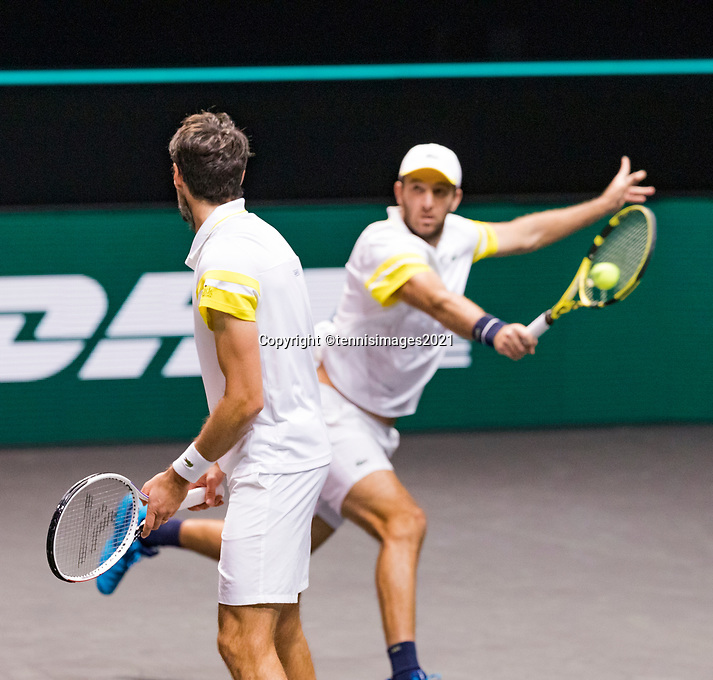 Rotterdam, The Netherlands, 6 march  2021, ABNAMRO World Tennis Tournament, Ahoy,  Semi final doubles:  Jeremy Chardy (FRA) Fabrice Martin (FRA). Photo: www.tennisimages.com/henkkoster