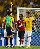 Thiago Silva of Brazil is shown a yellow card by referee Carlos Carballo meaning he misses the semi final vs Germany through suspension